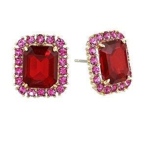 Kate Spade Bright Ideas Emerald Cut Studs Fuchsia
